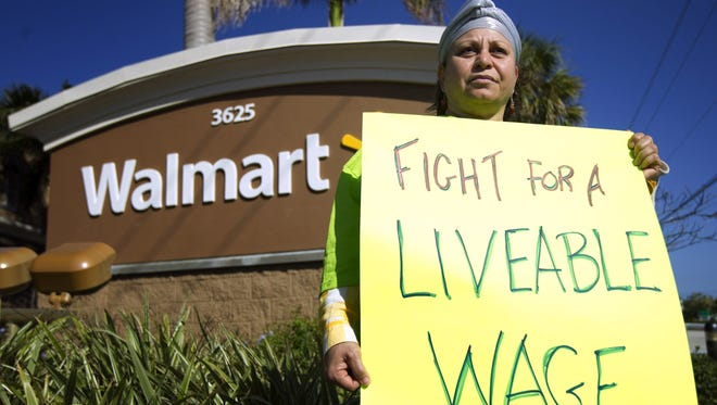 Walmart workers and supporters protested in Boynton Beach, Fla., on Friday.