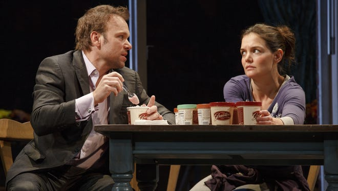 DEAD ACCOUNTS Music Box Theatre  Nobert Leo Butz as (Jack) and Katie Holmes as (Lorna,) in a scene from the Broadway play DEAD ACCOUNTS.   HANDOUT Photo by Joan Marcus