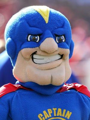 Tulsa Golden Hurricanes mascot during the game against the Arkansas Razorbacks at Donald W. Reynolds Razorback Stadium.