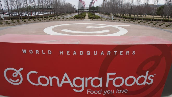 A sign for ConAgra Foods world headquarters in Omaha, Neb.