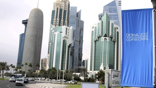 Conference flags are displayed last week ahead of the Doha Climate Change Conference in Doha, Qatar.