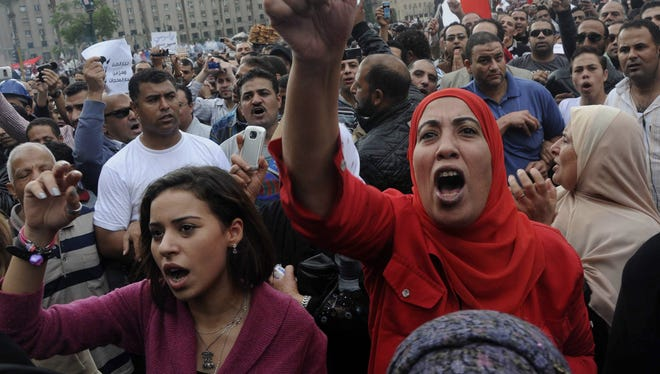 Protesters against President Mohammed Morsi rally in Tahrir Square on Friday.