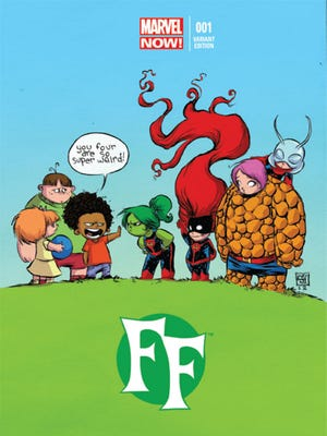 """Skottie Young's variant cover for """"FF,"""" the relaunched series featuring Ant-Man, Ms. Thing, Medusa and She-Hulk as an all-new Fantastic Four."""