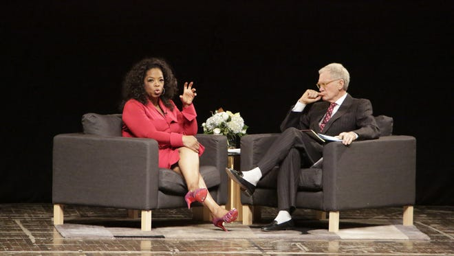 "David Letterman and Oprah Winfrey attend  ""A Conversation With David Letterman And Oprah Winfrey"" at Ball State University  in Muncie, Ind."