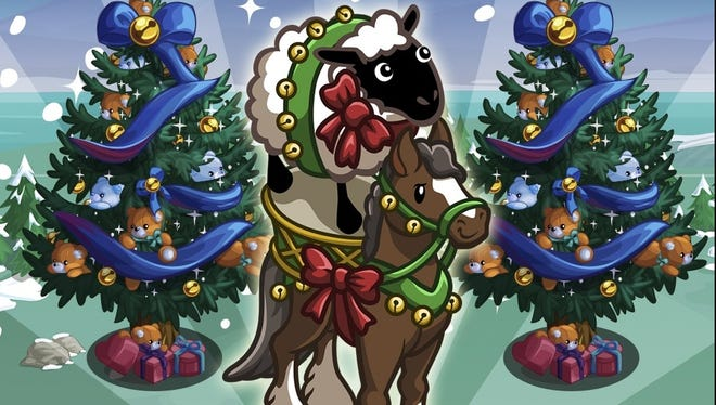 One of the virtual goods that FarmVille players can buy is the Cheer-Ewe-Up horse, which costs $1 and is donated to Toys for Tots.