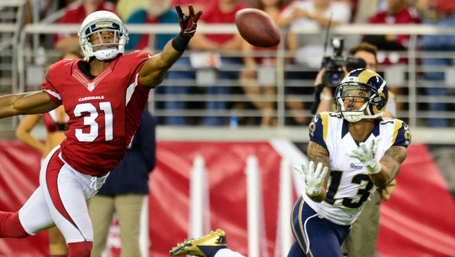 Rams wide receiver Chris Givens caught five passes in Week 12 against the Cardinals, including this 37-yard touchdown.
