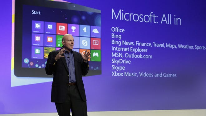 Microsoft CEO Steve Ballmer gives his presentation at the launch of Microsoft Windows 8, in New York last month.