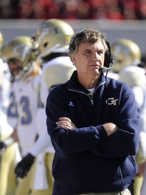 Georgia Tech head coach Paul Johnson works the sideline against Georgia during an NCAA college football game, Saturday, Nov. 24, 2012, in Athens, Ga.