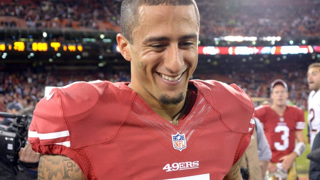 San Francisco 49ers quarterback Colin Kaepernick (7) reacts after the Nov. 19 game against the Chicago Bears at Candlestick Park. The 49ers won 32-7.