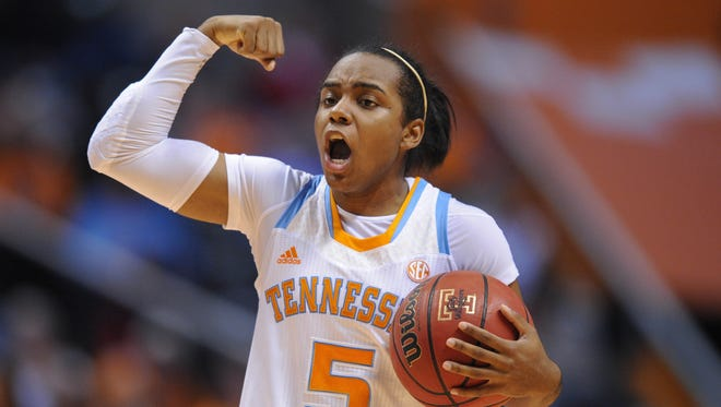 Tennessee Lady Volunteers guard Ariel Massengale calls out a play during the game against the Middle Tennessee Lady Raiders during the game at Thompson Boling Arena. Tennessee won in overtime, 88-81.