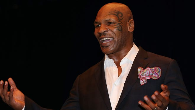 """Mike Tyson during his speaking tour, """"Day of the Champions"""" n Brisbane, Australia this month."""