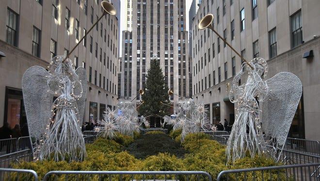 The Christmas tree at Rockefeller Center awaits lighting on Nov. 28, 2012 in New York City.