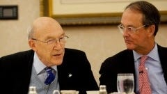 Former senator Alan Simpson, left, and Erskine Bowles participate at a roundtable hosted by 'The Christian Science Monitor' in Washington on Wednesday.