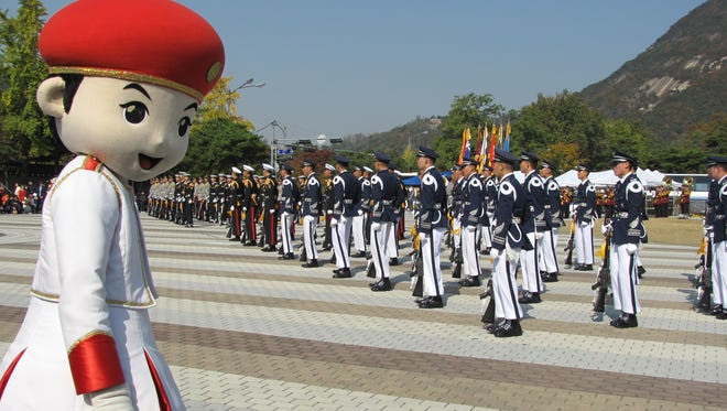 Extravagant military displays regularly take place near Seoul's presidential palace.