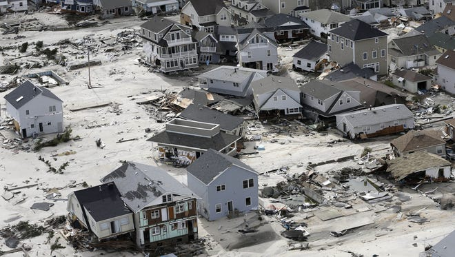 Destroyed homes left in the wake of superstorm Sandy in Seaside Heights, N.J., on Oct. 31.
