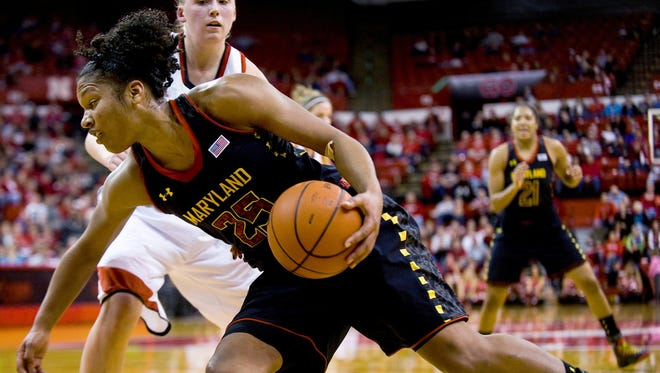 Maryland forward Alyssa Thomas  drives past Nebraska's Lindsey Moore during the second half of their NCAA college basketball game, Wednesday, Nov. 28, 2012, in Lincoln, Neb. Maryland won 90-71. Thomas finished with 25 points.
