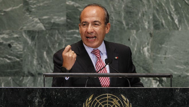 Mexican President Felipe Calderon addresses the 67th session of the United Nations General Assembly at U.N. headquarters in New York on Sept. 26.