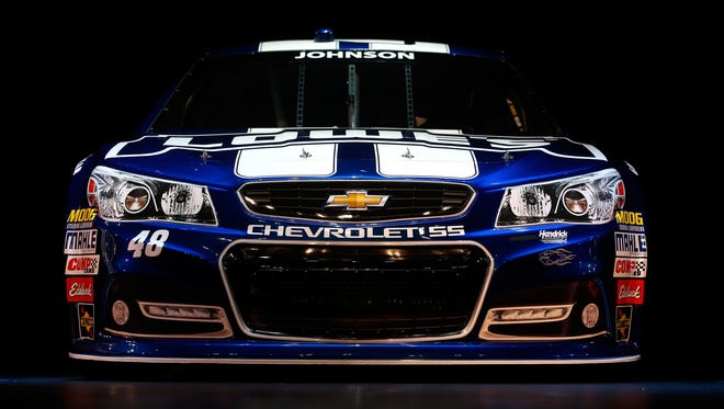 The new Chevrolet SS model for the 2013 Sprint Cup season was unveiled in Las Vegas on Thursday. Jimmie Johnson's model is displayed here.