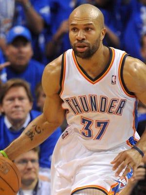 Derek Fisher helped the Thunder in their NBA Finals run last season.