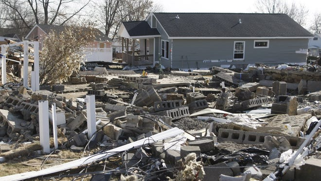 Rubble is all that remains of a home in Union Beach, N.J. in the wake of Hurricane Sandy.