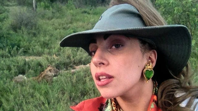 Laga Gaga shares a shot of herself with lions lolling in the background in South Africa.