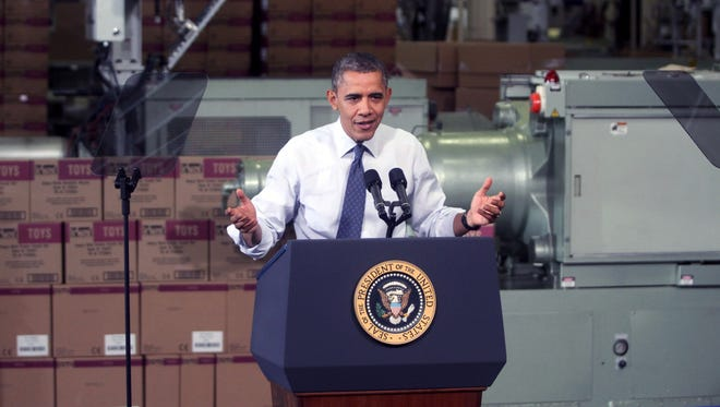President Obama speaks at The Rodon Group manufacturing facility Friday in Hatfield, Pennsylvania.