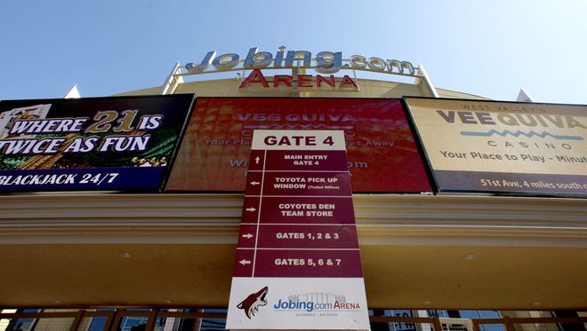 Two opponents are fighting Glendale's decision to give an management deal for Jobing.com Arena to prospective Coyotes owner Greg Jamison.