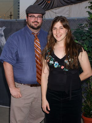 Mayim Bialik and husband Michael Stone in Glendale, Calif., in 2004.