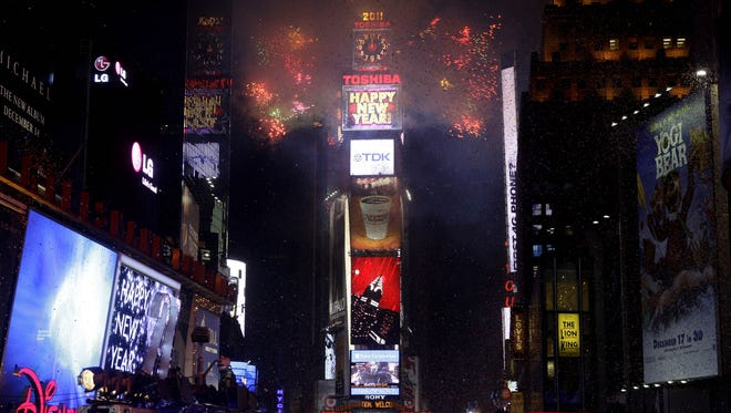 Fireworks erupt to ring in 2011,  in Times Square in New York.