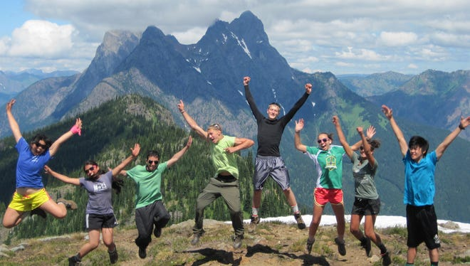 Students celebrate their visit to North Cascades National Park in Washington.