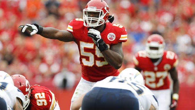 Kansas City Chiefs inside linebacker Jovan Belcher (59) during an NFL football game against the San Diego Chargers on Sunday, Sept. 30, 2012, in Kansas City, MO.