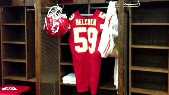 Jovan Belcher'?s locker in the Chiefs' locker room after the team?'s win over the Panthers on Sunday.