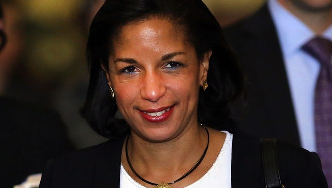 U.N. Ambassador Susan Rice leaves following a General Assembly vote granting Palestinians non-member observer status on Thursday in New York City.