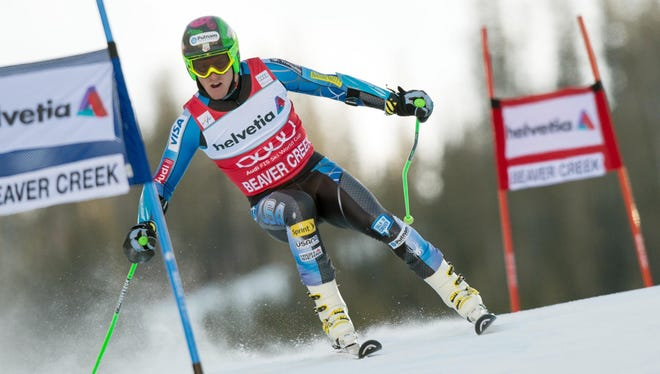 Ted Ligety races during the first run of the men's giant slalom at the FIS World Cup on the Birds of Prey course in Beaver Creek, Colo., on Sunday.