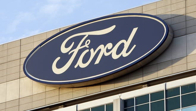 The Ford logo on the automaker's Dearborn, Mich., headquarters.