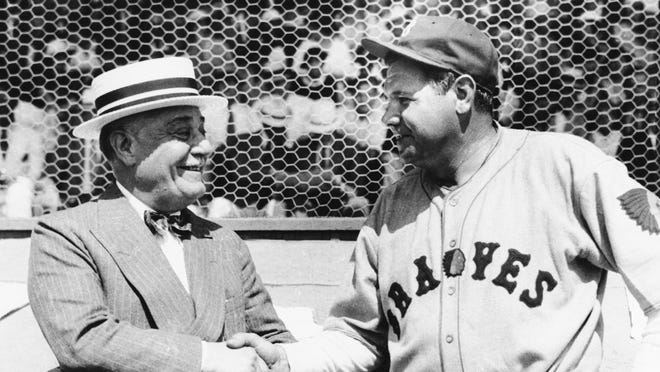 Jacob Ruppert, left, owner of the New York Yankees, with Babe Ruth.