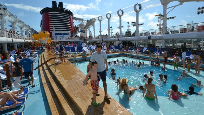 There's almost always a crowd on the Disney Dream's pool deck, which is home to the family-focused Donald's Pool and Mickey's Pool.