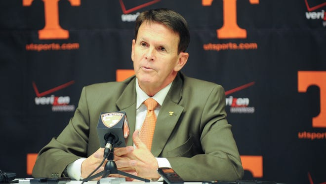 Tennessee Volunteers athletic director Dave Hart announces the firing of football head coach Derek Dooley at Stokely Family Media Center.