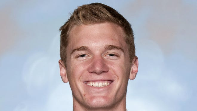 This undated photo provided by Utah State Athletics shows Utah State NCAA college basketball player Danny Berger in Logan, Utah. University spokesman Tim Vitale said that emergency responders had to use a defibrillator to get Berger breathing again after he collapsed during practice Tuesday.