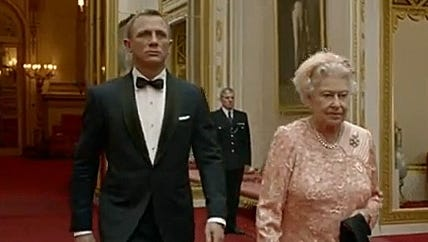 Queen Elizabeth II was escorted by Daniel Craig (as James Bond) in a spoof for the opening of the London Olympics.