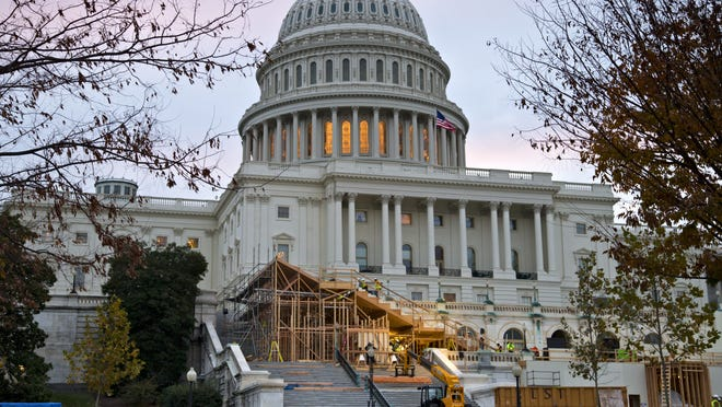 Construction of the viewing stand for President Barack Obama's inauguration ceremony.
