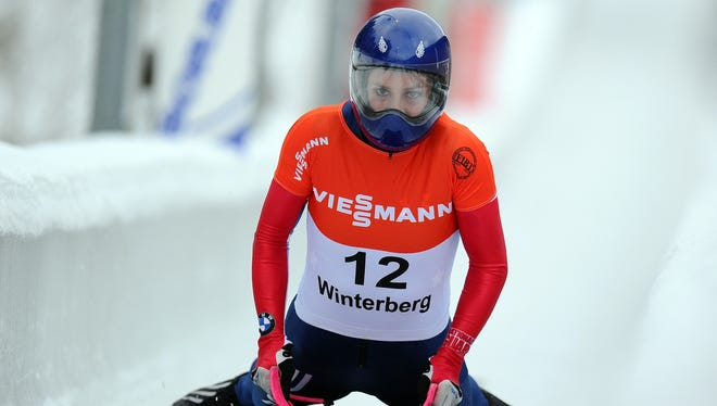 Bronze medal winner Noelle Pikus-Pace of USA is seen after the women's skeleton competition during the FIBT Bob & Skeleton World Cup at Bobbahn Winterberg in Winterberg, Germany.