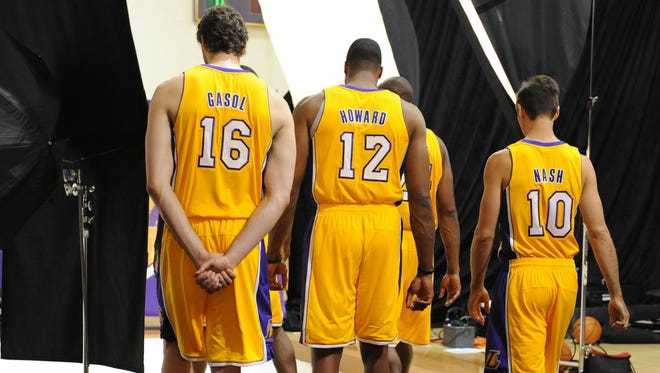 Los Angeles Lakers Pau Gasol (16), Dwight Howard (12) and Steve Nash (10) are key to the team's success.