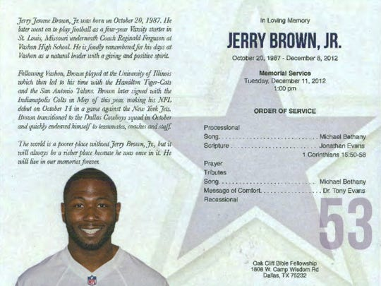 Memorial Program | Cowboys Brent Attends Funeral With Brown S Mother