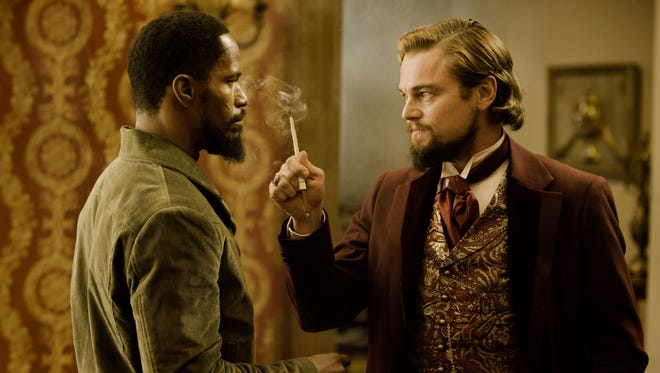 Jamie Foxx and Leonardo DiCaprio in 'Django Unchained,' which opens Christmas Day.