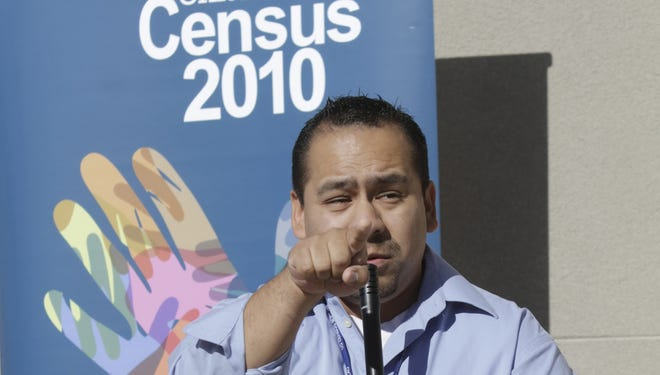 U.S. Census worker Angel Rocha talks to students in Rio Rico, Ariz., in 2010 about the importance of getting counted.