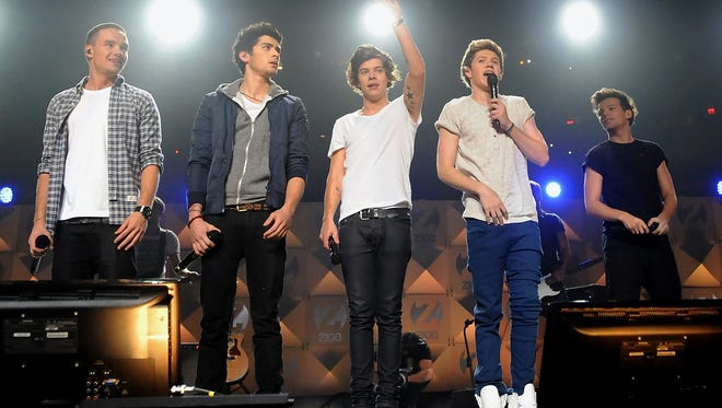 One Direction performs at Z100's Jingle Ball 2012 at Madison Square Garden in New York. Band members, from left, are Liam Payne, Zayn Malik, Harry Styles, Niall Horan, and Louis Tomlinson.