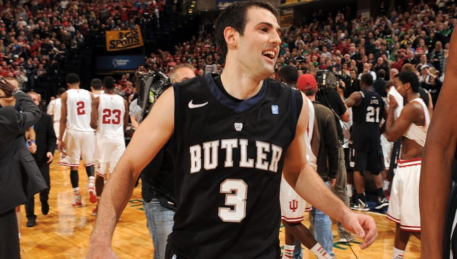 Butler's Alex Barlow, who hit the game winning shot, was all smiles as he left the court as the Bulldogs' big upset.