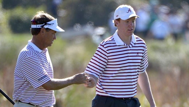 Davis Love III, left, and his son Dru ended up winning the Father-Son Challenge.