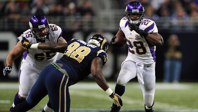 Adrian Peterson needs 294 rushing yards in the last two weeks to break the NFL's single-season rushing record (2,105 yards).